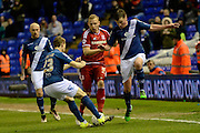 Birmingham City defender Jonathan Spector tackles Middlesbrough defender Ritchie De Laet during the Sky Bet Championship match between Birmingham City and Middlesbrough at St Andrews, Birmingham, England on 29 April 2016. Photo by Alan Franklin.