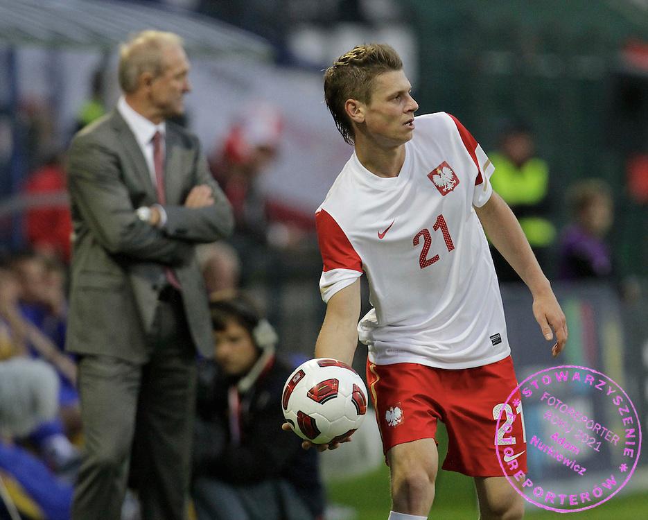 LODZ 04/09/2010.FOOTBALL INTERNATIONAL FRIENDLY.POLAND v UKRAINE.Franciszek Smuda and Lukasz Piszczek of Poland ..Fot: Piotr Hawalej / WROFOTO