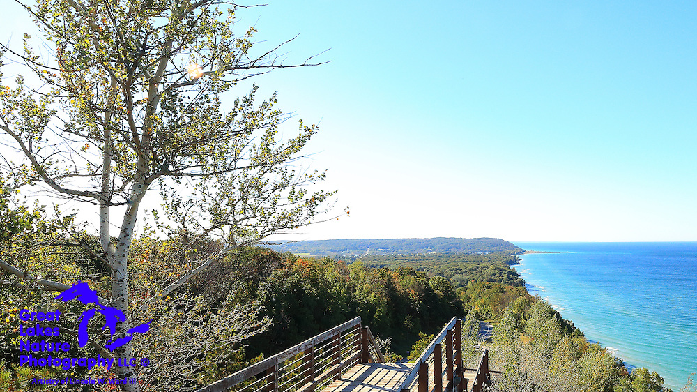 This photo was taken from the Benzie Scenic Turnout on M-22, north of Arcadia Michigan. It's a great place to stop on your Michigan tour (both the town and the turnout). The turnout, also known as the Arcadia Overlook, or even Inspiration Point, might be the best vantage point over Lake Michigan, anywhere.