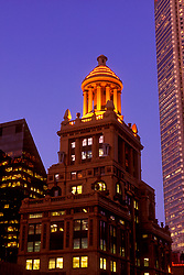Stock photo of night time view of Niels Esperson building lighted cupola in downtown Houston,Texas