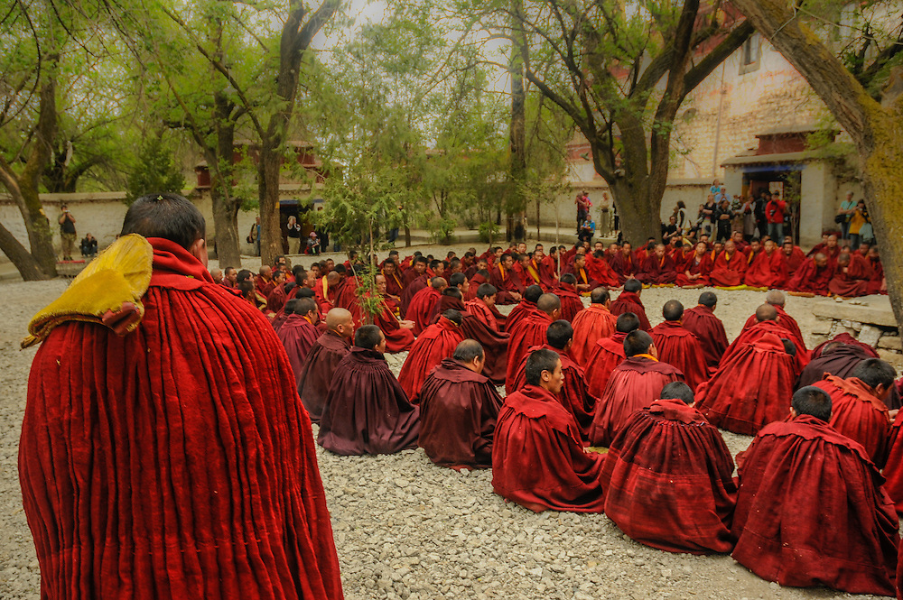 Monks gathering after debating in Sera monastery, Tibet.