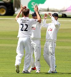 Hampshire's Jackson Bird celebrates taking the wicket of Somerset's Johann Myburgh - Photo mandatory by-line: Robbie Stephenson/JMP - Mobile: 07966 386802 - 21/06/2015 - SPORT - Cricket - Southampton - The Ageas Bowl - Hampshire v Somerset - County Championship Division One