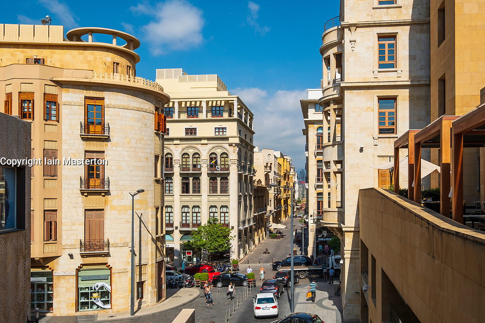 View of colonial architecture of buildings in Downtown district of Beirut, Lebanon