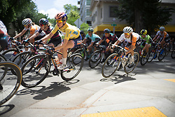 Megan Guarnier (USA) of Boels-Dolmans Cycling Team leans into a corner during the fourth, 70 km road race stage of the Amgen Tour of California - a stage race in California, United States on May 22, 2016 in Sacramento, CA.
