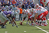The Louisville Cardinals' quarterback Hunter Cantwell (right) gets ready to take the snap against Kansas State, at Bill Snyder Family Stadium in Manhattan, Kansas, September 23, 2006.  The 8th ranked Louisville Cardinals beat K-State 24-6.