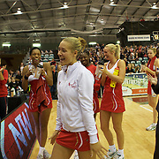 Tamsin Greenway, England, receives a birthday sing-a-long after the New Zealand V England, New World International Netball Series, at the ILT Velodrome, Invercargill, New Zealand. 6th October 2011. Photo Tim Clayton...