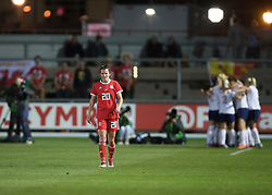 NEWPORT, WALES - Thursday, August 30, 2018: Wales' Helen Ward looks dejected as England celebrate their first goal during the FIFA Women's World Cup 2019 Qualifying Round Group 1 match between Wales and England at Rodney Parade. (Pic by Laura Malkin/Propaganda)
