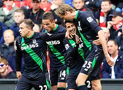 Bojan Krkic of Stoke City celebrates after scoring the equalising goal to make it 1-1  - Mandatory by-line: Matt McNulty/JMP - 10/04/2016 - FOOTBALL - Anfield - Liverpool, England - Liverpool v Stoke City - Barclays Premier League
