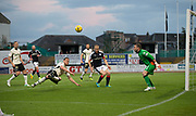 Inverness&rsquo; Gary Warren clears as Dundee&rsquo;s Henrik Ojamaa waits to pounce - Dundee v Inverness Caledonian Thistle in the Ladbrokes Scottish Premiership at Dens Park, Dundee, Photo: David Young<br /> <br />  - &copy; David Young - www.davidyoungphoto.co.uk - email: davidyoungphoto@gmail.com