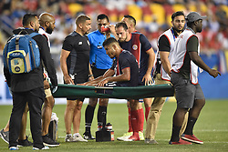 July 7, 2017 - Harrison, New Jersey, U.S - Costa Rica forward JOHAN VENEGAS (11) is stretchered off the field during CONCACAF Gold Cup 2017 action at Red Bull Arena in Harrison New Jersey Costa Rica defeats Honduras 1 to 0. (Credit Image: © Brooks Von Arx via ZUMA Wire)