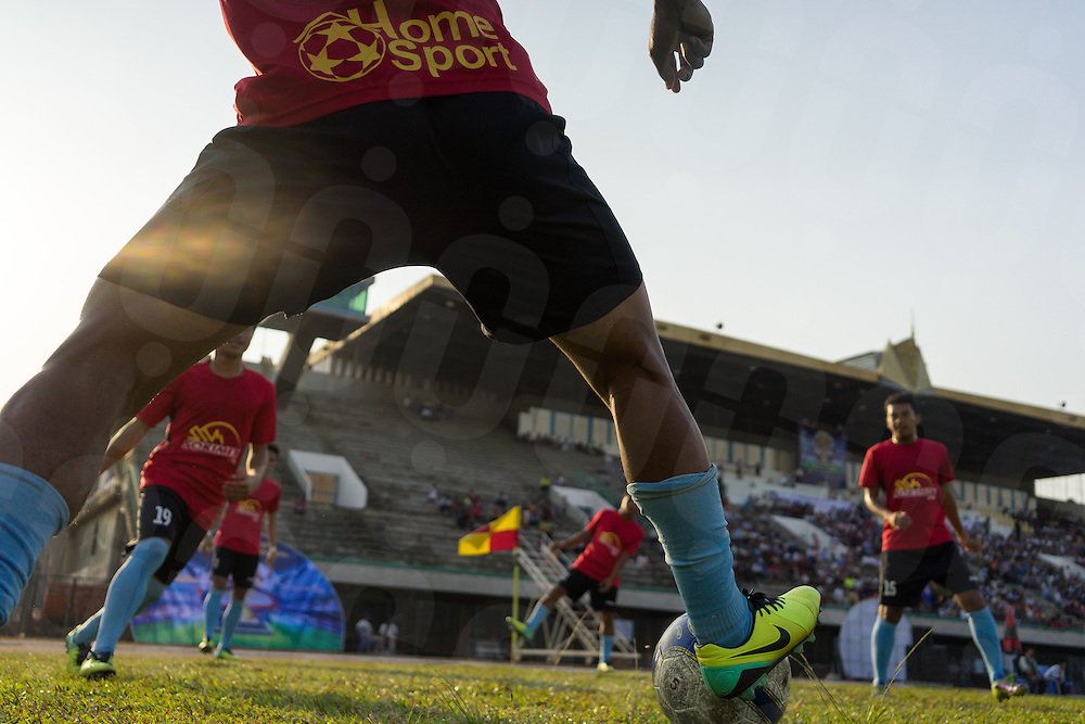 March 15, 2014 - Phnom Penh. National Police FC players warm up before a game against Build Bright FC in the final of the Hun Sen Cup at the National Olympic Stadium, Phnom Penh. © Thomas Cristofoletti / Ruom.