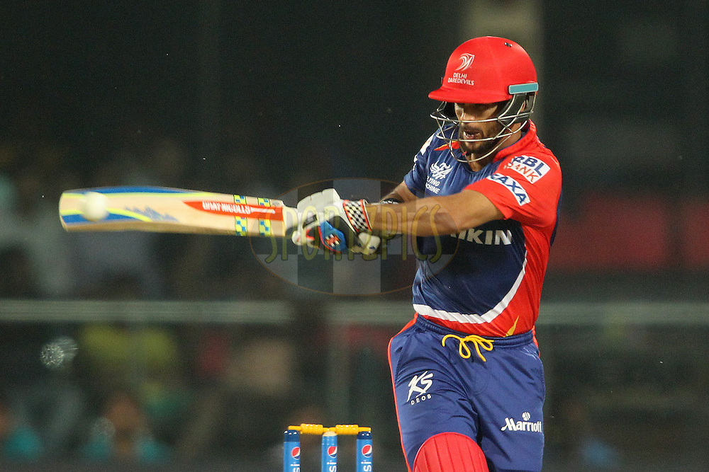 Delhi Daredevils captain Jean-Paul Duminy pulls a delivery through the leg side during match 21 of the Pepsi IPL 2015 (Indian Premier League) between The Delhi Daredevils and The Mumbai Indians held at the Ferozeshah Kotla stadium in Delhi, India on the 23rd April 2015.<br /> <br /> Photo by:  Shaun Roy / SPORTZPICS / IPL