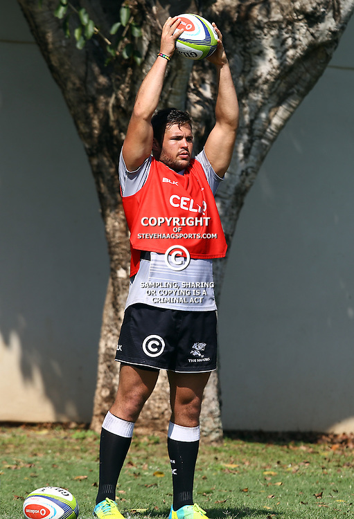 DURBAN, SOUTH AFRICA, 4 April, 2016 - Franco Marais during The Cell C Sharks training session  at Growthpoint Kings Park in Durban, South Africa. (Photo by Steve Haag)<br /> images for social media must have consent from Steve Haag