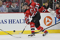 Mar 23; Newark, NJ, USA; New Jersey Devils left wing Ilya Kovalchuk (17) shoots the puck during the second period of their game against the Toronto Maple Leafs at the Prudential Center.
