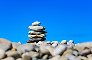 Rock cairn on Stonewall Beach, Chilmark, Matha's Vineyard, Massachusetts, USA