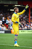 Port Vale&rsquo;s Goalkeeper Chris Neal makes his point. Skybet football league one match, Crewe Alexandra v Port Vale at the Alexandra Stadium in Crewe on Saturday 13th Sept 2014.<br /> pic by Chris Stading, Andrew Orchard sports photography.