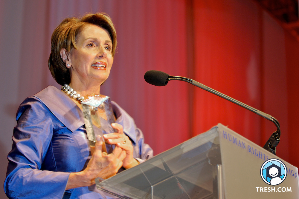 Speaker of the U.S. House of Representatives Nancy Pelosi accepts the Human Rights Campaign National Equality Award, Saturday, October 6, 2007, during the HRC Annual National Dinner, held in the Washington D.C. Convention Center.