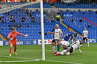 Football - 2019 / 2020 Championship - Play-off semi-final - 1st leg - Cardiff City vs Fulham<br /> <br /> Michael Hector of Fulham defends  Robert Glatzel of Cardiff City on the attack in the box						<br /> in a match played with no crowd due to Covid 19 coronavirus emergency regulations, in an almost empty ground, at the Cardiff City Stadium<br /> <br /> COLORSPORT/WINSTON BYNORTH
