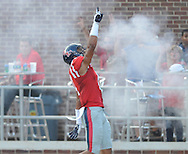 Mississippi tight end Evan Engram (17) celebrates after scoring on a 64 yard pass play vs. Southeast Missouri State at Vaught-Hemingway Stadium in Oxford, Miss. on Saturday, September 7, 2013. (AP Photo/Oxford Eagle, Bruce Newman)