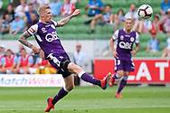 MELBOURNE, VIC - MARCH 03: Perth Glory forward Andrew Keogh (9) takes a shot at goal at the round 21 Hyundai A-League soccer match between Melbourne City FC and Perth Glory on March 03, 2019 at AAMI Park, VIC. (Photo by Speed Media/Icon Sportswire)