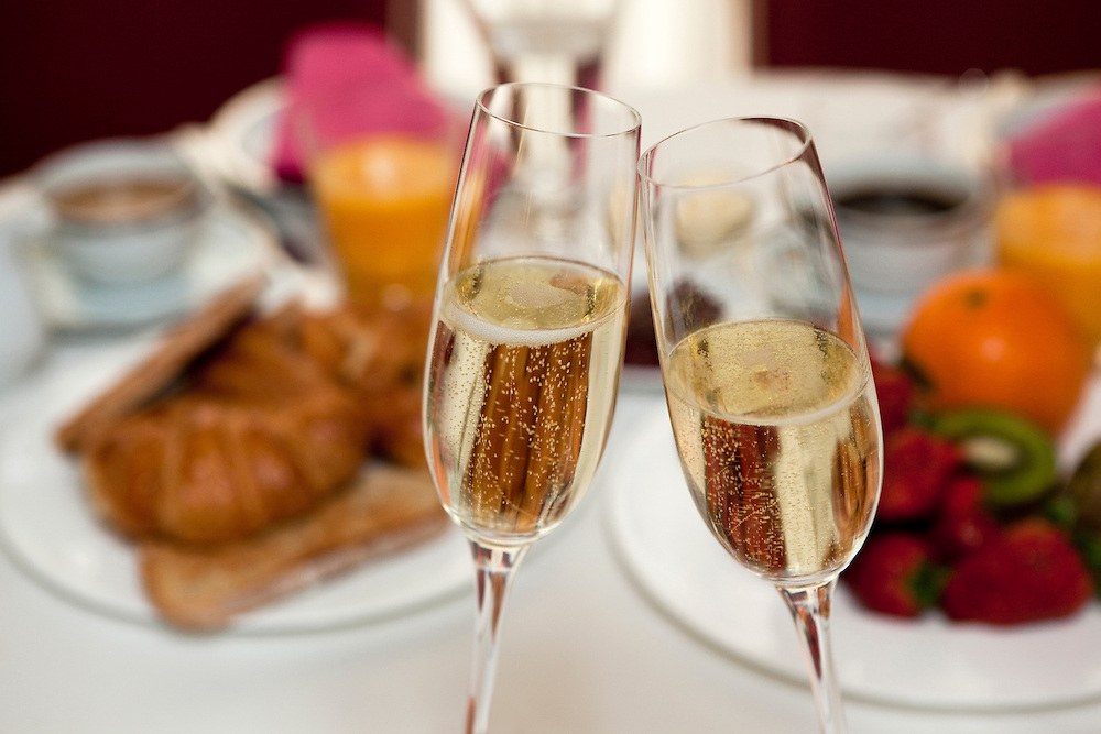Toast with champagne at breakfast.