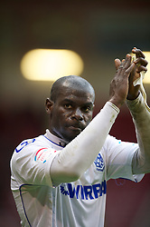 SHEFFIELD, ENGLAND - Saturday, March 17, 2012: Tranmere Rovers' Enoch Showunmi applauds the supporters after his side's 1-1 draw with Sheffield United during the Football League One match at Bramall Lane. (Pic by David Rawcliffe/Propaganda)