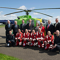 Scotland's Charity Air Ambulance (SCAA) launches from Perth Airport....22.05.13<br /> Back row from left, <br /> Front row from left, John Stupart pilot, Paramedics Alex Holden, Andy Walker, Wayne Auten, Bruce Rumgay, John Pritchard and pilot Russell Myles.<br /> Picture by Graeme Hart.<br /> Copyright Perthshire Picture Agency<br /> Tel: 01738 623350  Mobile: 07990 594431