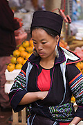 Sapa Market. Black Hmong hilltribe woman.