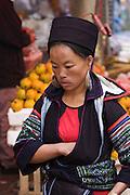 Sapa Market. Black Hmong hilltribe woman.