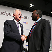 04 June 2015 - Belgium - Brussels - European Development Days - EDD - Closing Panel - From development aid to international Cooperation - Neven Mimica , EU Commissioner for International Cooperation and Development - Muhammed Kisirisa<br /> Co-Founder-CEO AFFCAD-Action For Fundamental Change and Development &copy; European Union