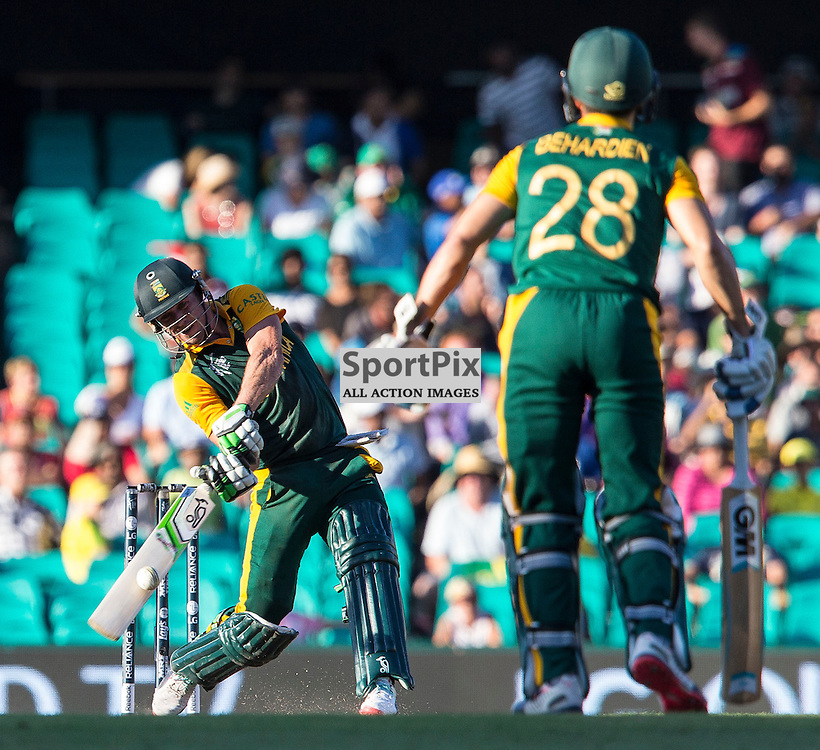 ICC Cricket World Cup 2015 Tournament Match, South Africa v West Indies, Sydney Cricket Ground; 27th February 2015<br /> A 6 off the last ball of the innings for South Africa&rsquo;s AB De Villiers
