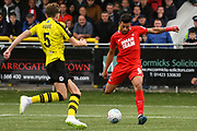 Macauley Bonne of Leyton Orient (9) scores a goal to make the score 0-1 during the Vanarama National League match between Harrogate Town and Leyton Orient at Wetherby Road, Harrogate, United Kingdom on 22 September 2018.