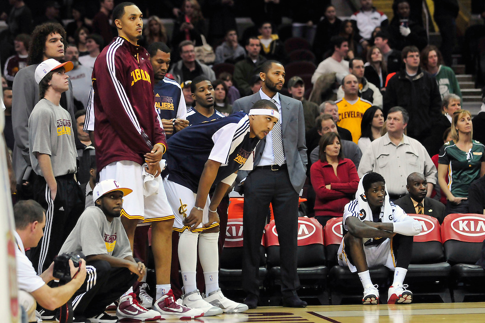 Feb. 5, 2011; Cleveland, OH, USA; The Cleveland Cavaliers bench watch during the final seconds of the fourth quarter against the Portland Trail Blazers at Quicken Loans Arena. The Trail Blazers beat the Cavaliers 111-105. With 24 losses in a row the Cavaliers set the record for most consecutive losses in one season. Mandatory Credit: Jason Miller-US PRESSWIRE