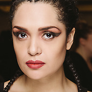 PROVIDENCE, RI - FEB 16: Diannely Antigua poses backstage prior to the K-Bobby International show during StyleWeek NorthEast on February 16, 2015 in Providence, Rhode Island. (Photo by Cat Laine)