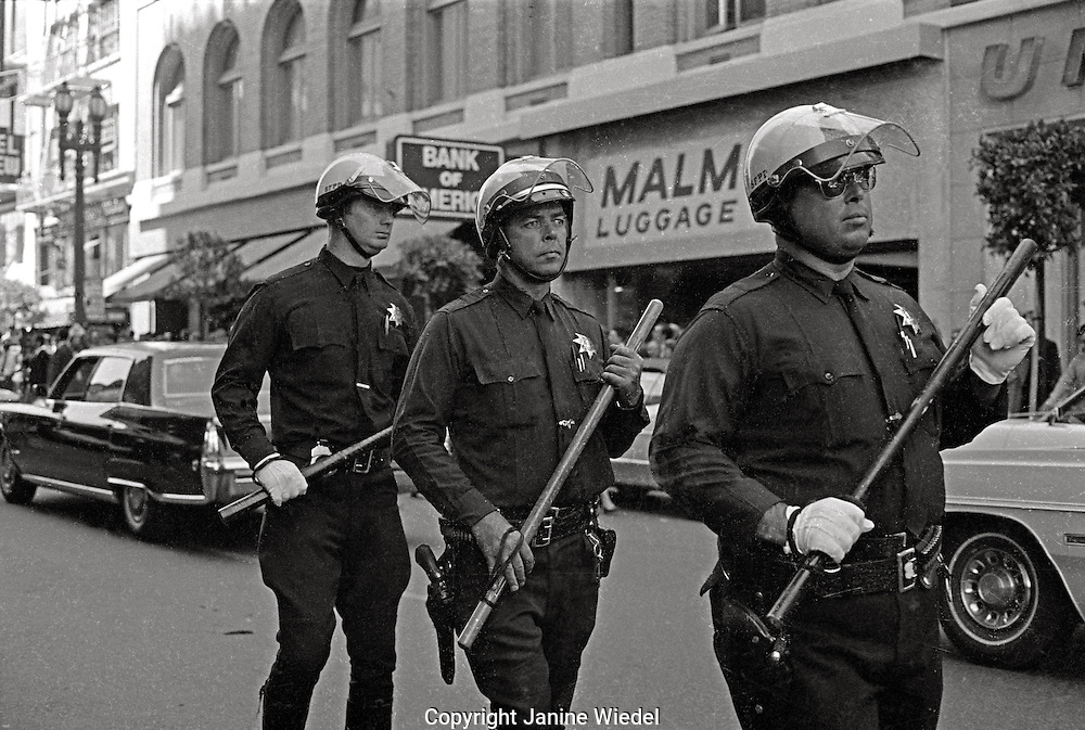Police with billy-clubs during Peoples Park Student protest & riots in Berkeley California 1969