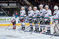 KELOWNA, CANADA - JANUARY 30: Tomas Soustal #15, Cole Linaker #26, Rodney Southam #17, Cal Foote #25 and Gordie Ballhorn #4 of Kelowna Rockets together with the Torres twins as the Pepsi Players of the game line up against the Victoria Royals on January 30, 2016 at Prospera Place in Kelowna, British Columbia, Canada.  (Photo by Marissa Baecker/Shoot the Breeze)  *** Local Caption *** Tomas Soustal; Cole Linaker; Rodney Southam; Cal Foote; Gordie Ballhorn;
