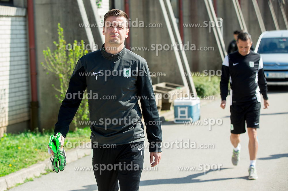 Aleksander Seliga #1 of NK Olimpija Ljubljana during practice session of NK Olimpija, on April 21, 2016 in Sports park Ljubljana, ZAK, Ljubljana, Slovenia. Photo by Vid Ponikvar / Sportida
