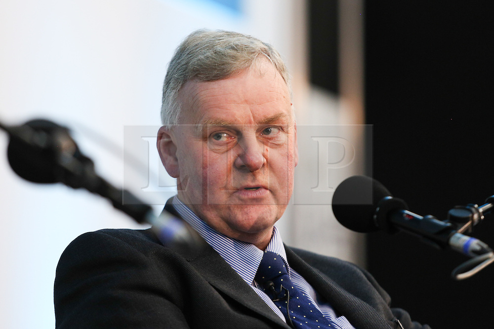 © Licensed to London News Pictures. 11/05/2016. Stoneleigh, UK. James Hook, of P D Hook, at a debate about the upcoming EU referendum during the 2016 Pig and Poultry Fair at Stoneleigh, Warwickshire, UK. A recent survey carried out by Farmers Weekly magazine revealed that 58 percent of farmers are in favour whereas only 31 percent said they wanted to remain. The debate was put on by the BBC Radio Four's Farming Today programme and will be broadcast later this month. Photo credit : Ian Hinchliffe/LNP