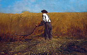 The Veteran in a New Field', 1865. Oil on canvas.  Winslow Homer (1836–1910) American landscape and marine painter and  printmaker.  Veteran of American Civil War using a scythe to reap an abundant harvest under a blue sky. Landscape Agriculture Labour Co
