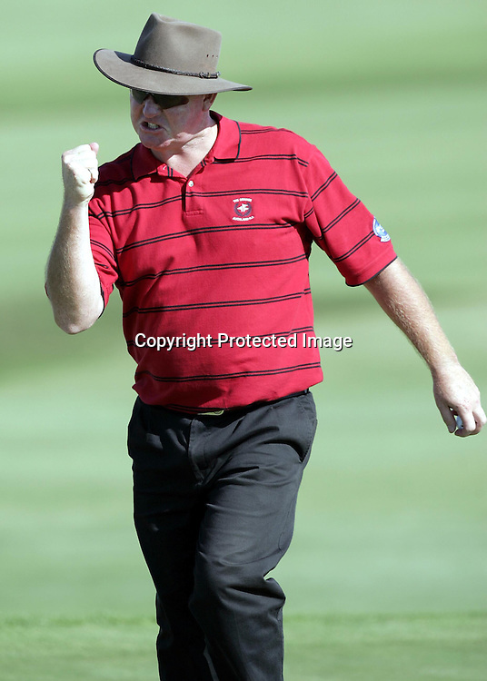 Stuart Thompson (NZ) celebrates after a shot during the Holden New Zealand Golf Open at Gulf Harbour, Whangaparaoa, New Zealand on Thursday 10th February, 2005.<br />PHOTO: PHOTOSPORT
