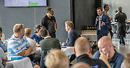Bestyrelsesformand Jordan Gardner taler til sponsorer før kampen i 2. Division mellem FC Helsingør og Boldklubben Avarta den 16. august 2019, på Helsingør Ny Stadion (Foto: Claus Birch)