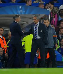 Chelsea Manager, Jose Mourinho and FC Schalke 04 Manager, Jens Keller  - Photo mandatory by-line: Joe Meredith/JMP - Mobile: 07966 386802 - 17/09/2014 - SPORT - FOOTBALL - London - Stamford Bridge - Chelsea v Schalke 04 - Champions League Group Stage