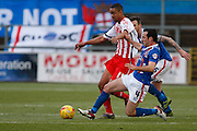 Carlisle United Midfielder Luke Joyce making another vital tackle during the Sky Bet League 2 match between Carlisle United and Stevenage at Brunton Park, Carlisle, England on 20 February 2016. Photo by Craig McAllister.