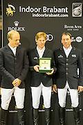 Persconferentie Rolex Grand Prix 1. Marcus Ehning &amp; Cornado NRW, 2. Hans Dieter Dreher &amp; Cool and Easy, 3. Willem Greve &amp; Carambole N.O.P. <br /> Indoor Brabant 2016<br /> &copy; DigiShots