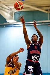 Panos Mayindombe of Bristol Flyers shoots - Photo mandatory by-line: Robbie Stephenson/JMP - 10/04/2019 - BASKETBALL - UEL Sports Dock - London, England - London Lions v Bristol Flyers - British Basketball League Championship