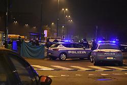 Berlin's attack terrorist Anis Amri shot dead by itaian police in Sesto San Giovanni, near Milan.<br /> 23 Dec 2016<br /> Pictured: Shooting in the night in Sesto San Giovanni, Milan: terrorist Anis Amri shot dead.<br /> Photo credit: D. Bennati / MEGA<br /> <br /> TheMegaAgency.com<br /> +1 888 505 6342