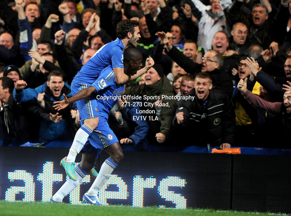28/10/2012 - Barclays Premier League Football - 2012-2013 - Chelsea v Manchester United - Ramires celebrates Chelsea's second goal with Juan Mata. - Photo: Charlie Crowhurst / Offside.