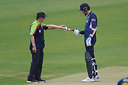 Steven Finn of Middlesex has his bat measured by umpire Jeremy Lloyds during the Royal London One Day Cup match between Hampshire County Cricket Club and Middlesex County Cricket Club at the Ageas Bowl, Southampton, United Kingdom on 23 April 2019.