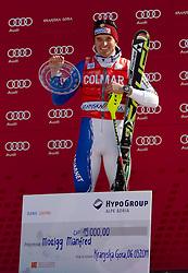 Winner of 50th Vitranc Cup 2011Manfred Moelgg of Italy celebrates during flower ceremony after the Men's Slalom of FIS Ski World Cup Alpine Kranjska Gora, on March 6, 2011 in Vitranc/Podkoren, Kranjska Gora, Slovenia.  (Photo By Vid Ponikvar / Sportida.com)