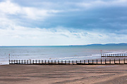 Groins (groynes) as tide breaker to stop movement of sand and erosion at Teignmouth sandy Beach in Devon, UK